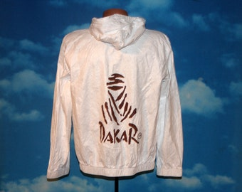 Dakar Rally White Hooded Tyvek Windbreaker Jacket Large Vintage 1990s