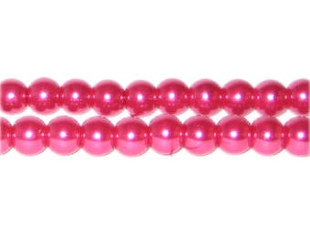 8mm Magenta Glass Pearl Bead, approx. 56 beads