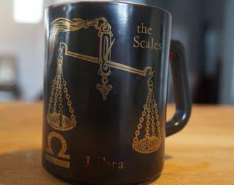 Libra Mug, Horoscope Mug, The Scales Mug, Vintage Mug, Sixties Mug, Vintage Coffee, Birthday Mug