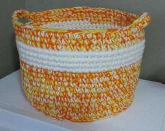 Multi Colored Crochet Basket - Orange, Yellow, Cream