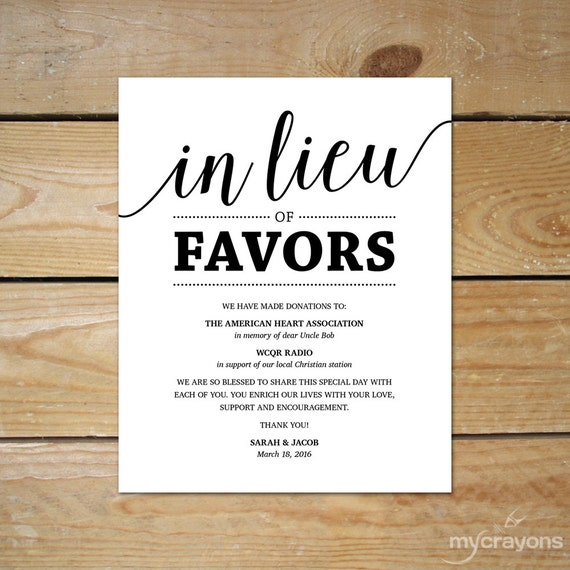 Money Instead Of Gifts For Wedding: Wedding Donation Sign // In Lieu Of Favors Sign Printable