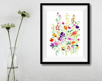 Flower field print, abstract floral art, colorful flowers art print, watercolor print, spring blossom print, floral art print, modern home