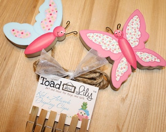 Pretty Patterned Butterfly Girls Wooden Wall Art DISPLAY CLIPS for Kids Bedroom Baby Nursery Playroom AC0022