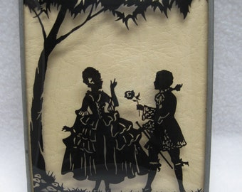 Silhouette Victorian Couple - Reverse Painted - Bubble Glass Picture