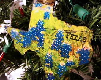 Texas Flag with Blue Bonnets Christmas Ornament