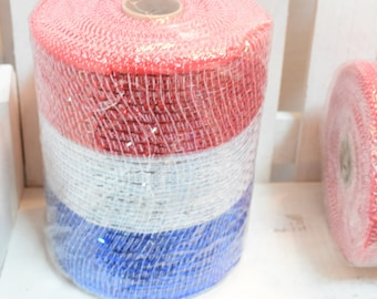2 rolls of Craft Ribbon, Mesh Ribbon, Americana Ribbon, 4th of July Ribbon