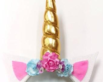 Unicorn Ears, Unicorn Headband, Rainbow, Pastel