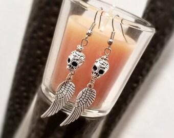 Skull and Wing Earrings, Dangle Skull Earrings, Day of the Dead, Sugar Skull Earrings, Gothic Earrings, Steampunk Earrings Antique Skulls