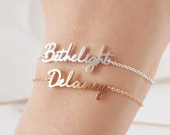 Personalized Name Braclets, Charm Handmade custom Bracelet , Engraved Jewelry, Signature Love Message Customized Gift