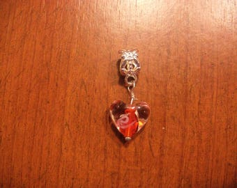 Silver red heart lampwork pendant