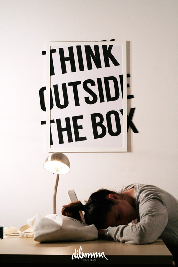 outside the box office. Motivational Minimalist Print, Think Outside The Box, Inspirational Quote, Classroom Wall Art Decor, Typography Black And White Box Office