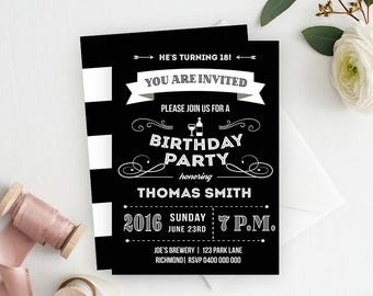 Male Birthday Invitation, Male Birthday, Adult Birthday Invitation, Birthday Party Invitation, Printable Invitation, 18th Birthday, Black