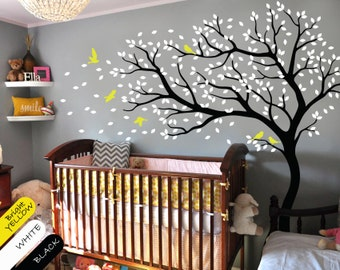Tree wall decal huge tree wall decals nursery wall decor wall mural kids room wall decoration with cute birds and leaves - 098