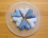 Christmas Hearts Ornaments  Primitive Blue  Bowl Fillers Holiday Decorations