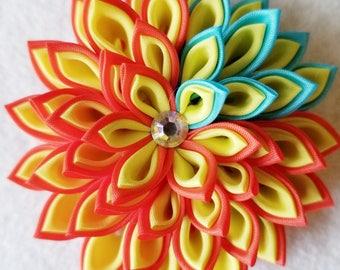 Kanzashi Flower Pin - Flower Pin - Flower Brooch - Brooch - Orange and Yellow Flower Pin - Flower Pin