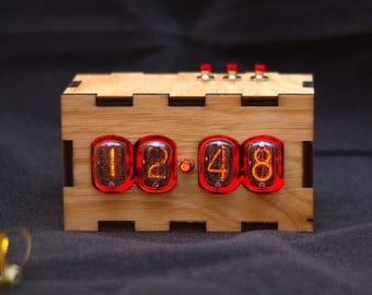 Nixie Tube Clock. Nixie Tube Vintage Clock. Wood Nixie Clock. IN-12 Nixie clock with adapter and wooden case