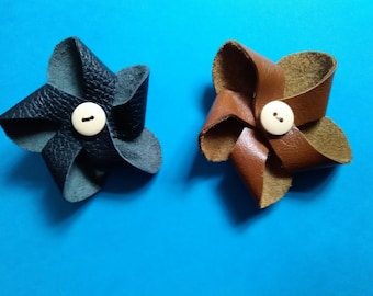 Flower real leather brooch made from recyled leather with a wooden button in the centre ,gift thats different, corsage.