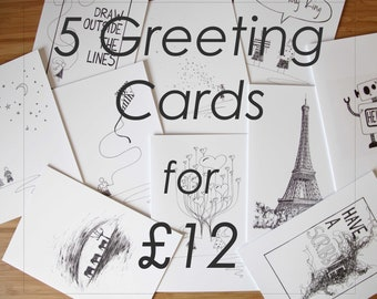 5 Greeting Cards Offer - Greetings Cards Bundle - Greetings Cards Multi Buy - Greetings Cards - Greetings Cards Mix and Match