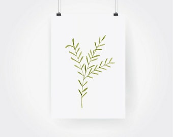 Hand Painted Watercolor Rosemary Herb Print