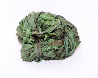 Worm Goo Sari Silk in Sage Kettle Dyed Yarn