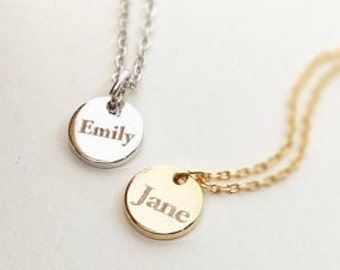 Word Coin Necklace, Word Pendant Necklace, Personalized Necklace, Bridesmaid Gift Necklace, Name Engraving Necklace, Christmas Gift
