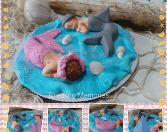 BABY SHOWER or First Birthday Twin Baby or Gender Reveal Edible Cake Topper. Made of  fondan Dolphin and Mermaid cake topper decoration