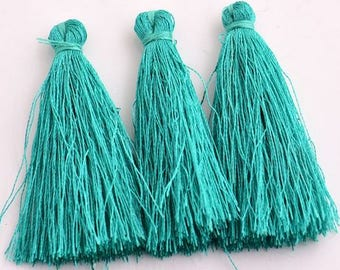 Teal Green Cotton Tassels - 10 pieces - 50mm - Jewelry Making - Craft Supplies