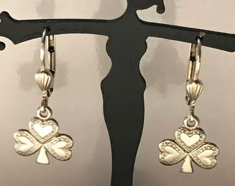 Vintage Sterling Silver Shamrock Earring Made in Dublin Ireland