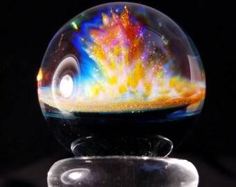 "Marmor / ball ""Eruption"", 33 mm Glas Kugel / 1.3, Glas, Marmor, Glas, Marmor, Sammlung, Nofumefumetech, fumecomb"