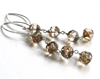 Neutral Gold and Clear Beaded Dangle Earrings on Sterling Silver, Lightweight, For Her Under 40, Free Gift Wrap