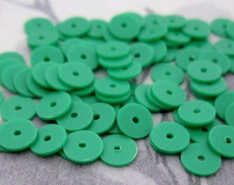 350 pcs. vintage green plastic disk saucer matte sequin beads 6x.5mm - r216