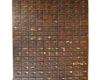 Late 18th Century, Oak Storage Apothecary File Card Catalog Cabinet Cupboard with 170 Drawers