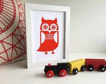 Owl theme nursery, Woodblock owl art, Owl nursery art, Woodland nursery, Woodland theme, Forest animal theme, Owl art print