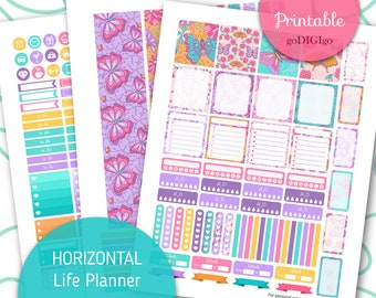 HORIZONTAL WEEKLY planner 2018 stickers use with Erin Condren Lifeplanner ™ Printable ec weekly kit May planner stickers
