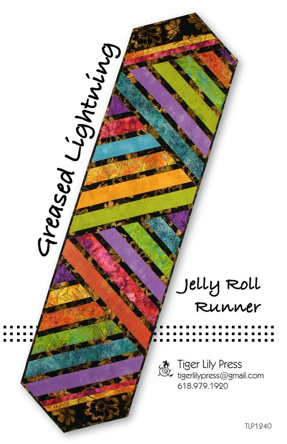 Greased lightning jelly roll table runner pattern diy quilting tiger lily press sewing watchthetrailerfo