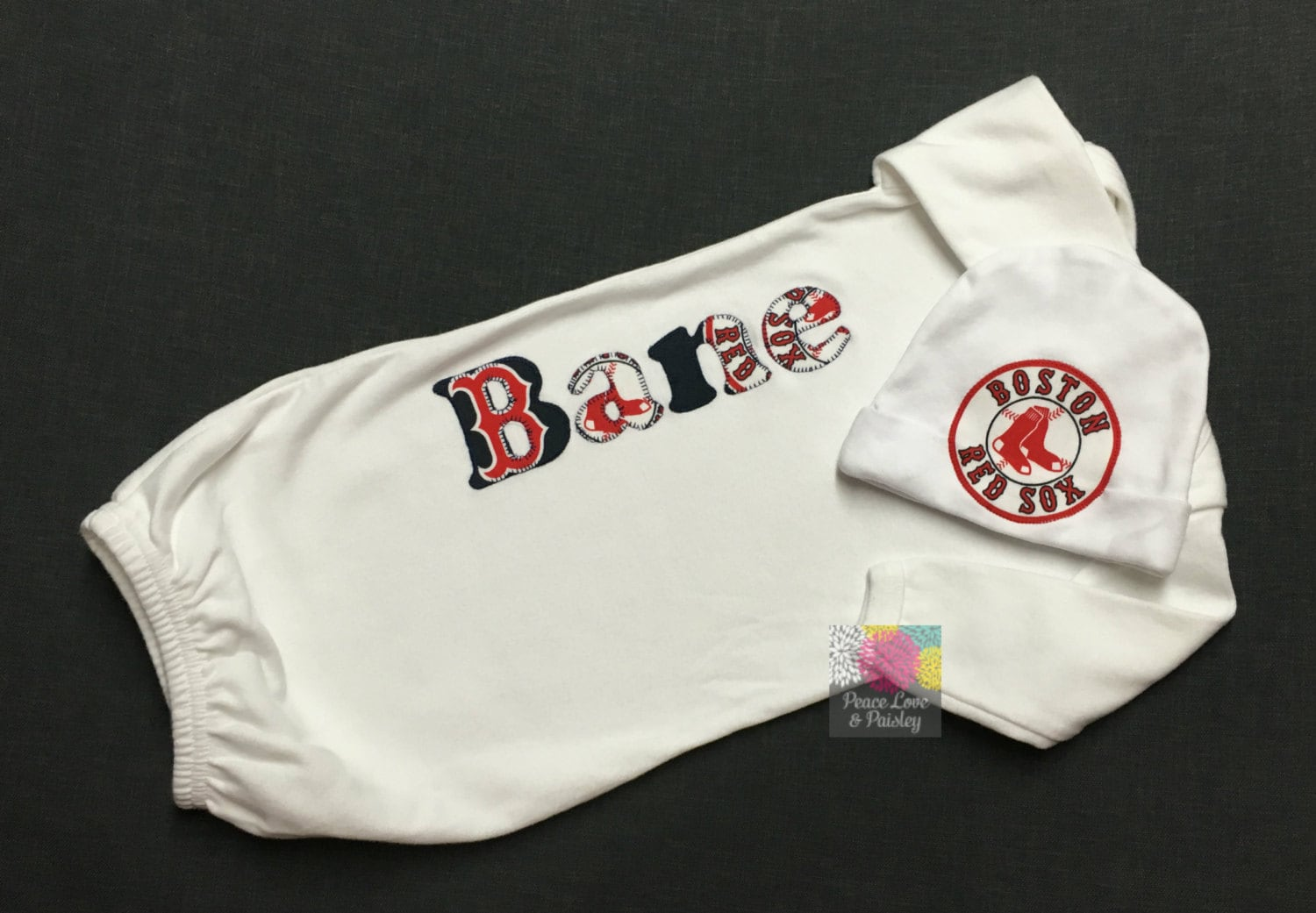 Red Sox Baby Personalized Baby Gown and Hat Set Baby Red Sox