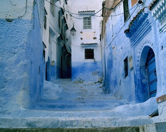 Blue Stairway and doors, Morocco