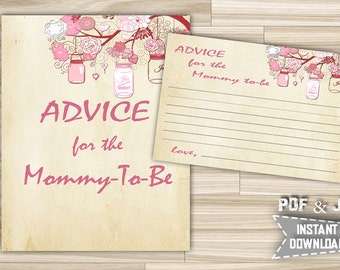 Advice For Parents To Be and Advice For Mommy To Be With Mason Jars Pink Vintage Theme Printable for Baby Shower - INSTANT DOWNLOAD - mjp