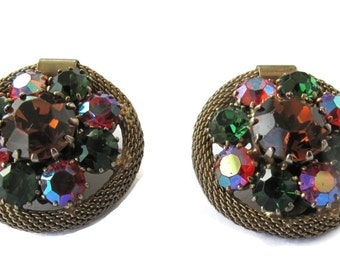 Weiss Clip On Earrings / Green, Rose, and Pink Stones / Mid Century Estate Jewelry / Round  Earrings / Collectible Jewelry / Designer Signed