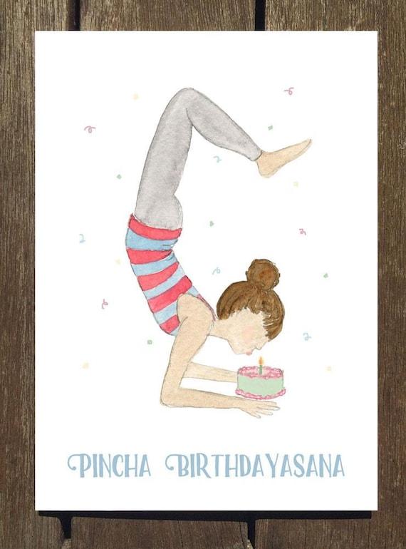 Pincha Birthdayasana Yoga Birthday Card Yoga Pose