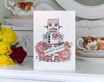 Vintage Robot Love Tattoo Handmade birthday Card