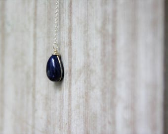 Lapis lazuli, birthstone necklace,Lapislazuli Necklace,Silver Necklace, Healing Stones,crystal necklace, gift for her,gift for mother,lapis,