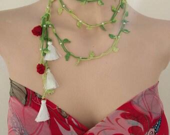 Lariat Crochet necklace Boho chic crochet Lariat Necklace