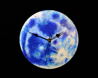 Full Moon wooden wall clock. Wood clock. Moon clock. Hand painted, handmade. Astronomy, planet, galaxy, night sky. Home decor. Gift.