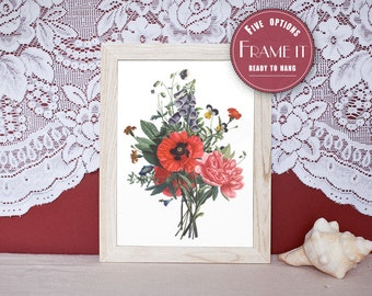 """Vintage illustration of Bouquet of Red Flowers - framed fine art print, flower art, home decor 8""""x10"""" ; 11""""x14"""", FREE SHIPPING - 107"""