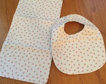 Matching Bib and Burp Cloth with lots of tiny Pink Flowers