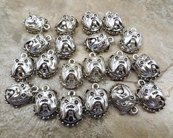 20 Pewter Bull Dog Face Charms - 5497
