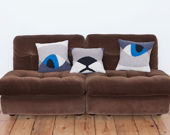 Set of 3 Knitted Cat Pillows in Mid Century Modern Style