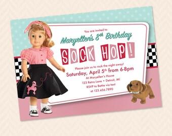 Maryellen Sock Hop Birthday or Party Invitation! 1950s Birthday Party!