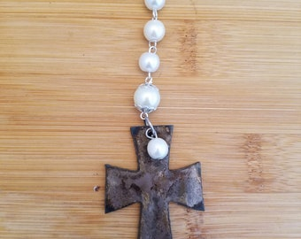 Rustic  Metal Cross Necklace with Fresh Water Pearl Accent